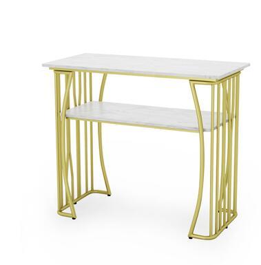 Чистый красный мраморный Маникюрный Стол И Набор стульев, одиночный двойной золотой железный двухэтажный Маникюрный Стол, простой и роскошный светильник - Цвет: 100CM