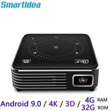 Smartldea P11 포켓 4K 3D 프로젝터 android9.0 2.4G 5G wifi Bluetooth5.0 홈 proyector 4G RAM 32G ROM 옵션 비디오 게임 비머