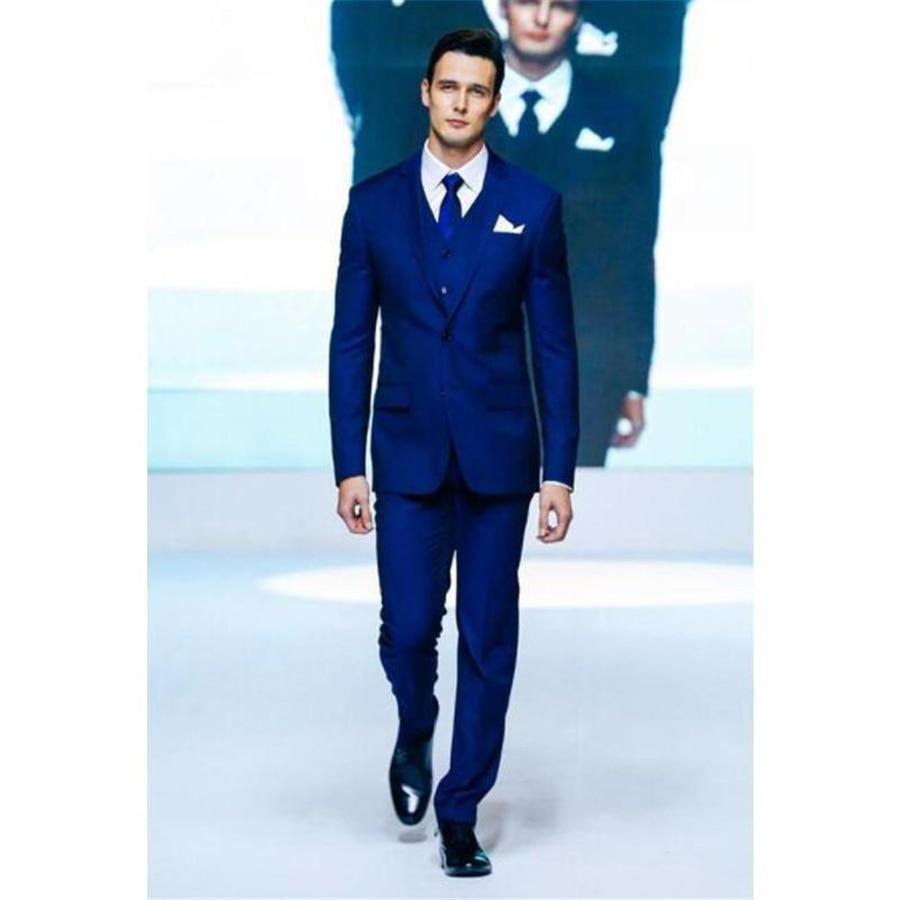 Royal Blue Wedding Tuxedos Peaked Lapel 3 Pieces Mens Suit Trim Fit Groomsmen Suit (Jacket+Pants+Vest)