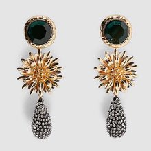 Flatfoosie-pendientes colgantes de flor de Nuevos Bohemios para mujer, joyería de Metal, cristales, accesorios para Bisutería