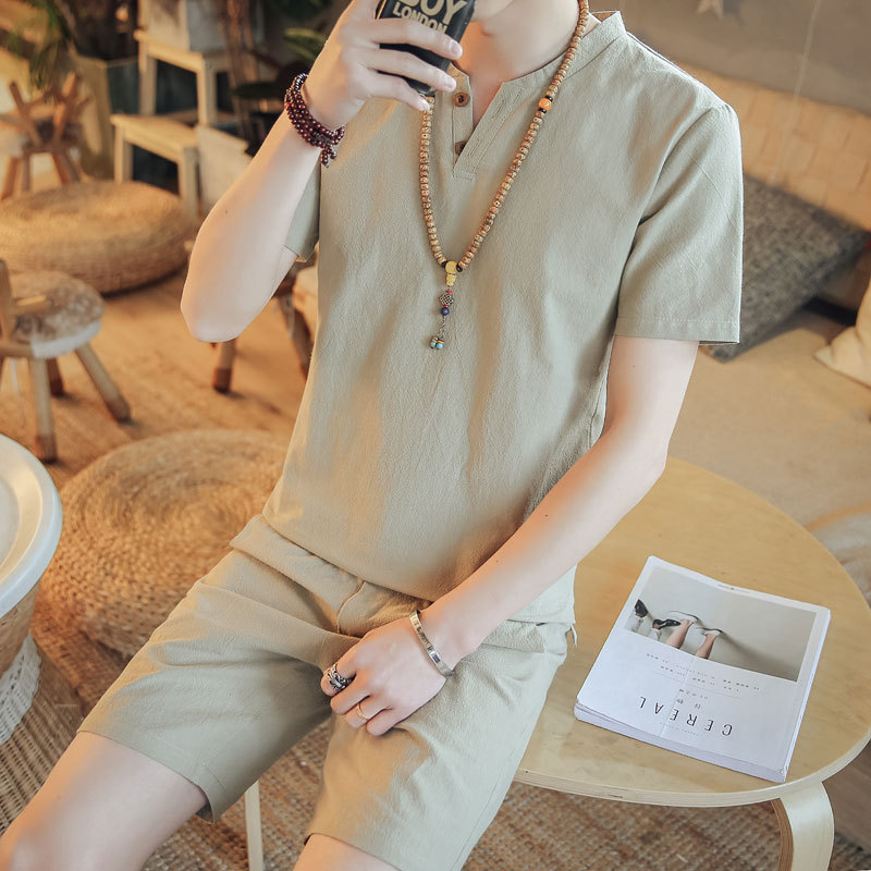 [Pure Cotton 2 Pieces] [Short In Size Deficit] Summer Flax Short Sleeve T-shirt MEN'S Shirt Set V-neck Pants