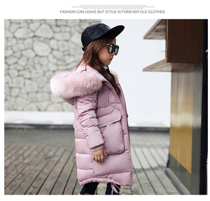Image 2 - 2019 New Fashion Children Winter Jacket Girl Winter Coat Kids Warm Thick Fur Collar Hooded long down Coats For Teenage 4Y 14Y