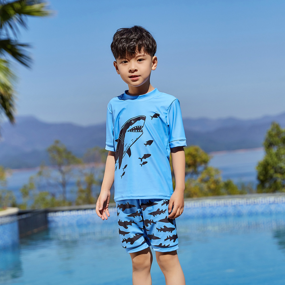 2019 Children Split Type Swimsuit Male Baby Bubble Hot Spring Swimsuit For Boys Handsome Cute Sports Olive Flower 1037