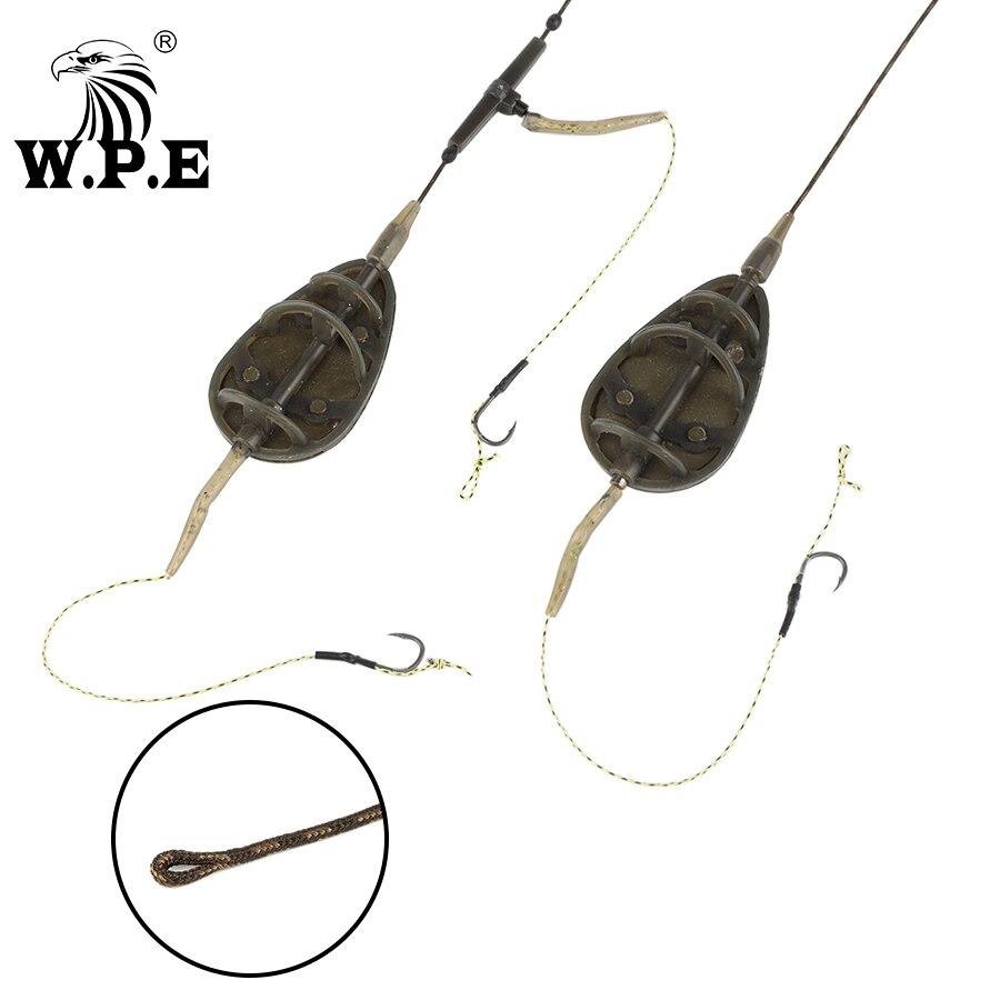 W.P.E Carp Fishing 1pcs 40g-80g Method Feeder Rig Hair Europe Carp Fishing Group Lead Core Line Method ARC Flat Fishing Tackle
