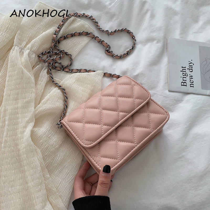Sewing Thread Checkered Women Shoulder Bags Checkered Fashion Candy Color Crossbody Bag For Ladies Handbags B746