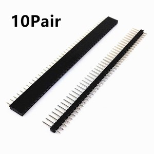 10PCS/10Pairs 40 Pin 1x40 Single Row Male and Female 2.54 Breakable Pin Header Black PCB JST Connector Strip Household Device