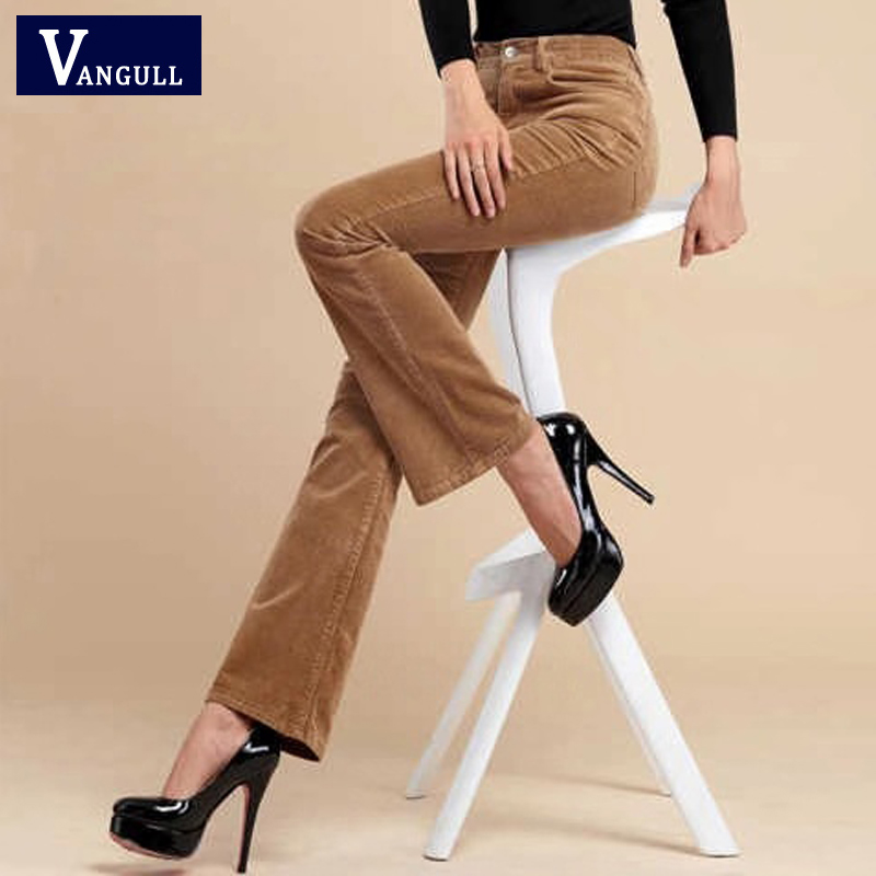 Vangull Women Corduroy Pants High Waist Solid Flare Pants 2019 Autumn New Plus Size Female Casual Loose Zipper Full Length Pants
