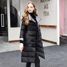 2020 New Women Double Sided Down Long Jacket Winter Turtleneck White Duck Down Coat Double Breasted Warm Parkas Female Outerwear