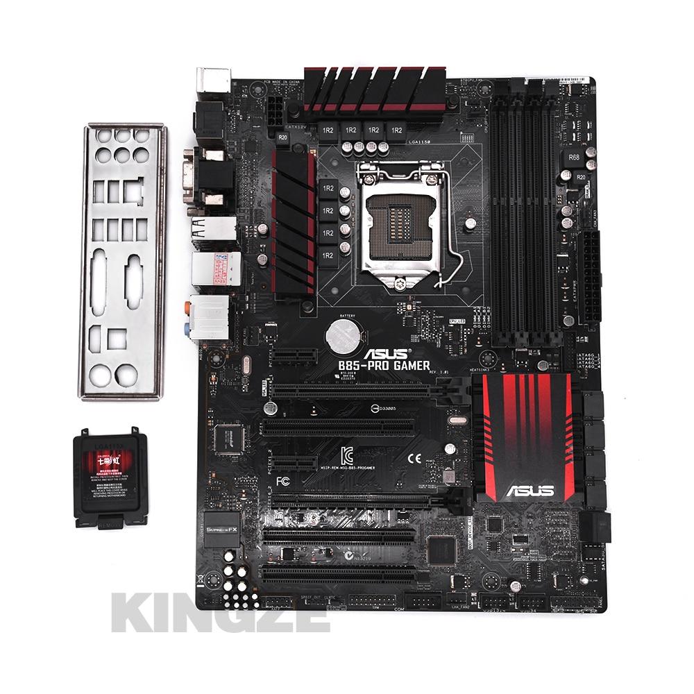 Б/у, оригинальная настольная Материнская плата Asus B85-PRO GAMER B85 Socket LGA 1150 i7 i5 i3 DDR3 32G SATA3 USB3.0 ATX 100%
