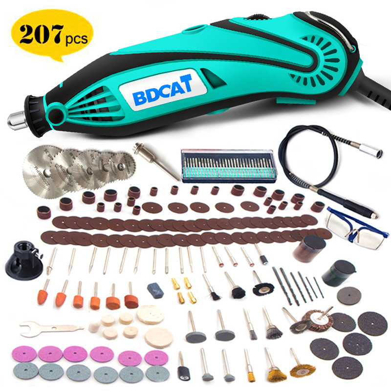 BDCAT 180W Electric Grinder Tool Mini Drill Polishing Variable Speed 207pcs Rotary Tool Kits with Power Tools Dremel Accessories