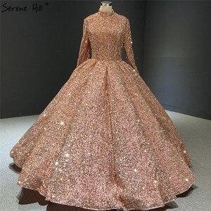 Image 2 - Serenhill robe de mariée musulmane rose, en paillettes, robe de mariée luxueuse, manches longues, scintillante, sur mesure, HA2068, 2020