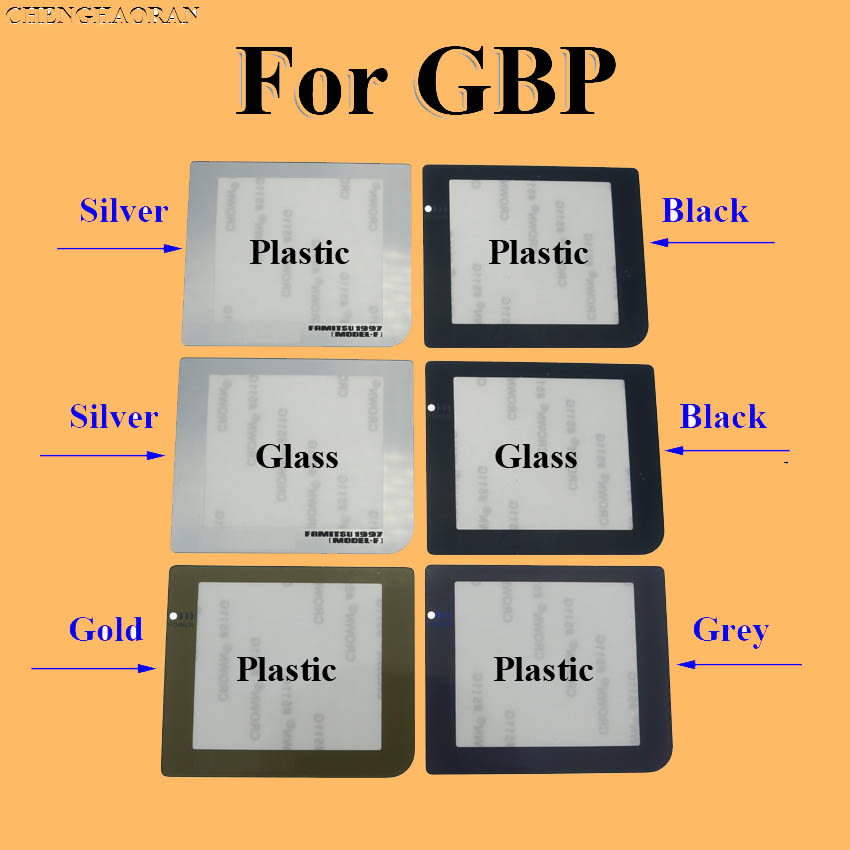 ChengHaoRan 50pcs Silver Black Gray Gold Plastic Glass Screen Lens For GBP Protective Cover Replacement for GameBoy Pocket-in Replacement Parts & Accessories from Consumer Electronics