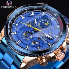 Forsining Rose Golden Case BlueSteel 3 Dial Multifunction Mens Business Sport Automatic Mechanical W