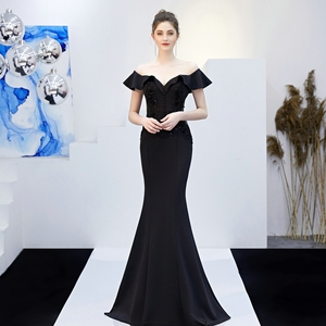 Image 5 - YIDINGZS See through Appliques Beaded Long Evening Dress Off the Shoulder Elegant Evening Party Dress YD16288