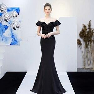 Image 5 - YIDINGZS Sehen durch Appliques Perlen Lange Abendkleid Weg Von der Schulter Elegante Abend Party Kleid YD16288