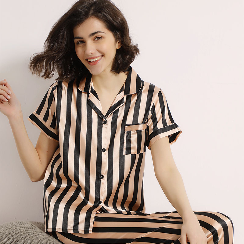 Summer New Silk Satin Black & Pink Striped Women Simple Style Pajamas Set Short Sleeve Homewear Ladies Comfort Loose Casual Wear