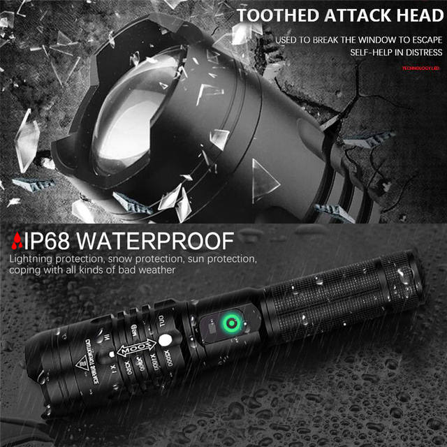Super Powerful LED Flashlight XHP50 Zoomable Handlamp Waterproof torch USB rechargeable Ultra Bright Lantern for camping hunting 4