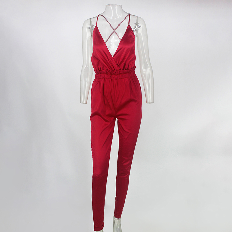 Pink Red Black Open Back Elegant Jumpsuit 11
