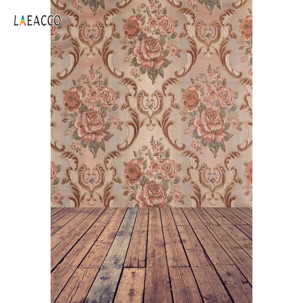 Laeacco Vintage Damask Pattern Wooden Floor Portrait Photography Backgrounds Customized Photographic Backdrops For Photo Studio