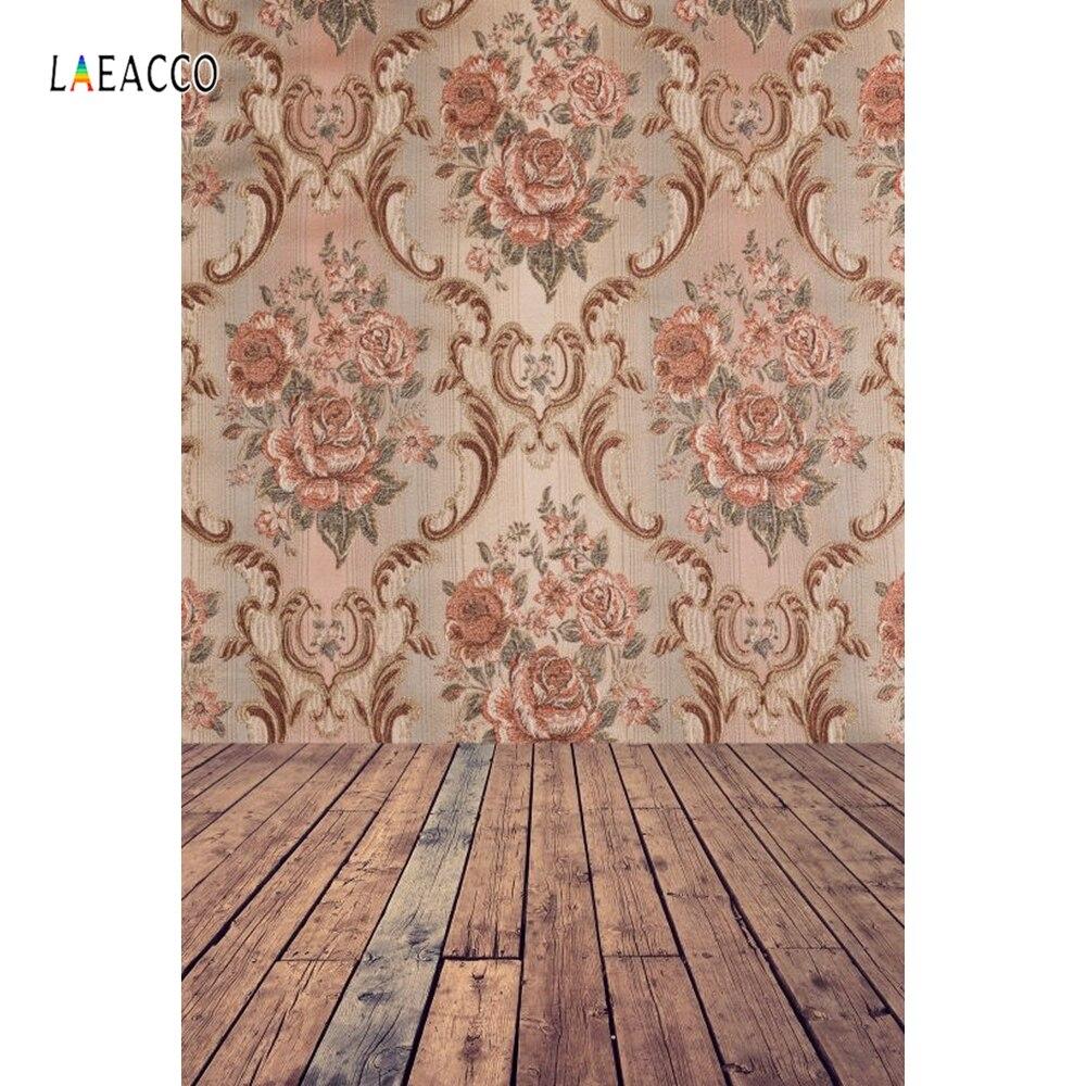 Laeacco vintage damasco padrão piso de madeira retrato fotografia fundos personalizados backdrops fotográficos para estúdio foto