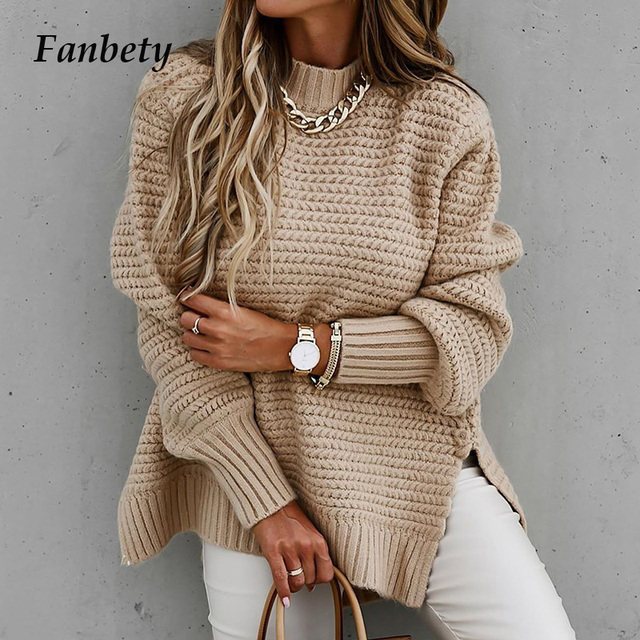 Autumn Winter Elegant Ribbed Slit Sweaters Vintage Solid Lantern Sleeve Women Pullover Tops Casual Knitted O Neck Sweater Jumper