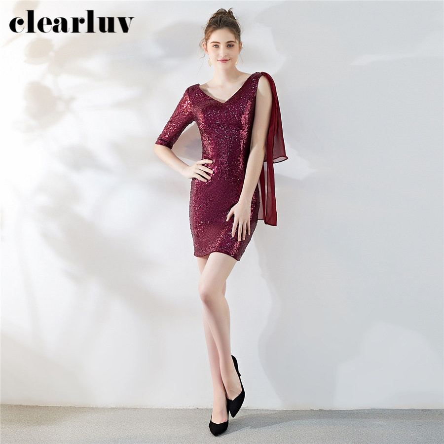 Sexy Backless Prom Gowns Dresses Burgundy Sequined Women Party Night DX284-4 2019 Plus Size Vestidos De Gala Ribbons Prom Dress