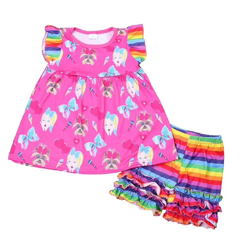 Милая детская повседневная одежда для маленьких девочек; Футболка с принтом с героями мультфильмов; топы; радужные шорты с оборками; комплект одежды для детей