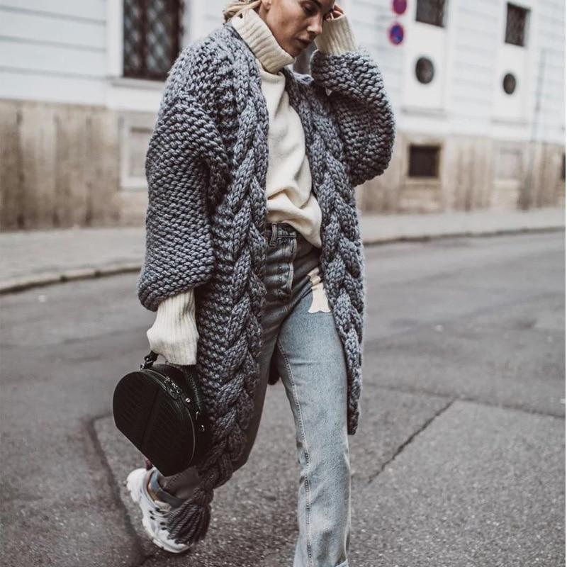 Hand Knitted Mohair Cardigan Women Long Sleeve Tassel Women Sweaters 2019 Winter Cashmere Ladies Lace Up Cardigan Sweater Women