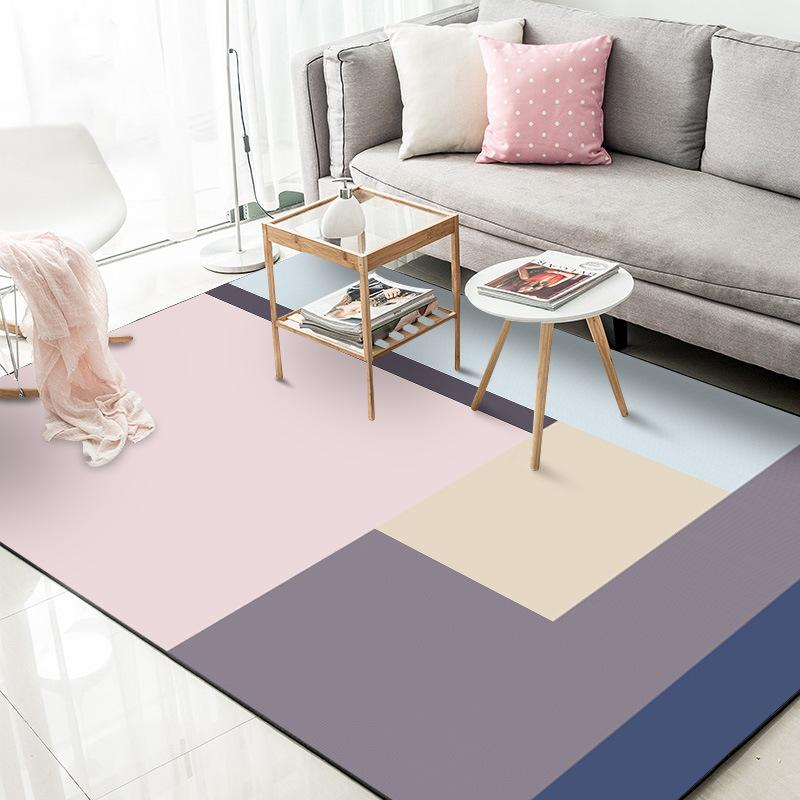 Modern Simple Geometric Pink Purple Carpets For Living Room Bedroom Decor Washable Area Rugs Polyester Flower Print Mats Carpet Aliexpress