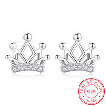 Cute Fashion 925 Sterling Silver Crown Zirconia Stud Earrings For Women Jewelry oorbellen pendientes S-E515(China)