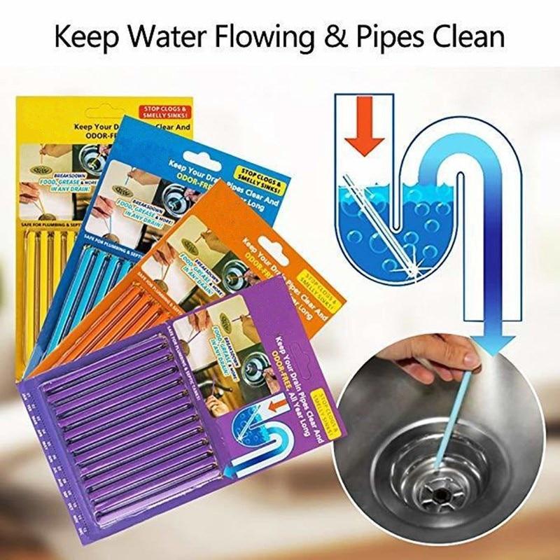 Sani Sticks Drain Cleaner Odour Remover Kitchen Bath Tub Sink Clean dirt