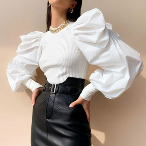 2020 Retro Womens Long Puff Sleeve Blouse Shirts Spring Fall Black White Solid Fashion Elegant Blouses and Tops Female Clothes