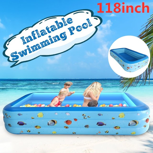 118 inch Summer Inflatable Swimming Pool PVC Rectangle Bathing Family Adult Kids Fun Water Play Center for Outdoor Backyard
