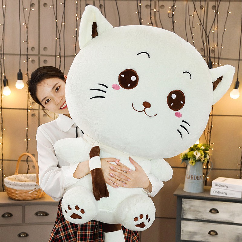 Hot Kawaii Big Face Tie/Scarf/Bell Cat Plush Toy Cartoon Animal Pussy Stuffed Doll Soft Pillow Cushion Birthday Gift For Kids
