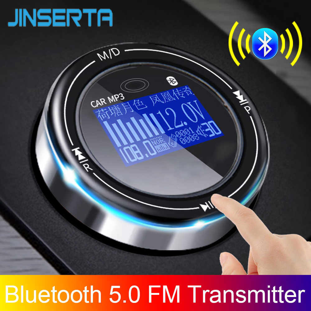 JINSERTA 2020 NEW Bluetooth 5.0 Fm Transmitter Handsfree Car Kit MP3 Modulator 3.1A Car Charger Double USB With LED Screen
