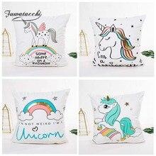 Fuwatacchi Cute Unicorn Gold Foil Cushion Cover Colorful Throw Pillow For Sofa Decor Rainbow Square Pillowcase