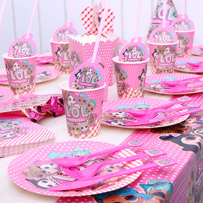 LOL Surprise! Birthday Party LOLs Doll Figure Theme Decoration Sets Tableware Cup Plate Spoon Cake Stand Parties Decor