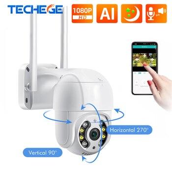 Techege 1080P Wifi AI Camera Outdoor 2MP CCTV Home Security IP Camera Wireless Dome Camera Color Night Vision 2-Way Audio Camera