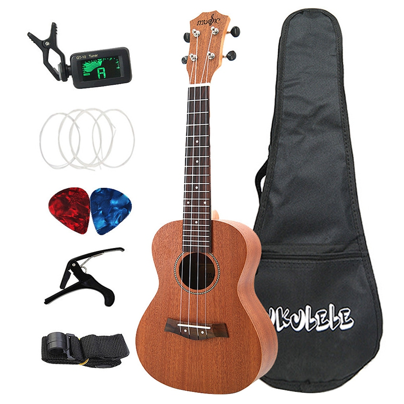 Sapele Concert Ukulele Kits 23 Inch 4 Strings Hawaiian Mini Guitar With Bag Tuner Capo Strap Stings Picks Musical Instrument