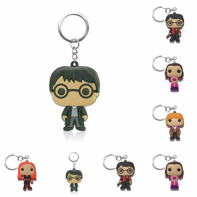 1pc Potter Magic Avengers PVC Soft Keychain Key Ring For Women Men Backpack Bag Mickey Super Mario Key Chains Jewelry Xmas Gifts