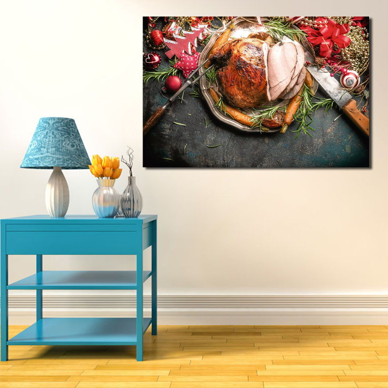 Steak Christmas Food Wall Art Canvas Poster And Print Canvas Painting Decorative Picture Kitchen Living Room Home Decor Artwork