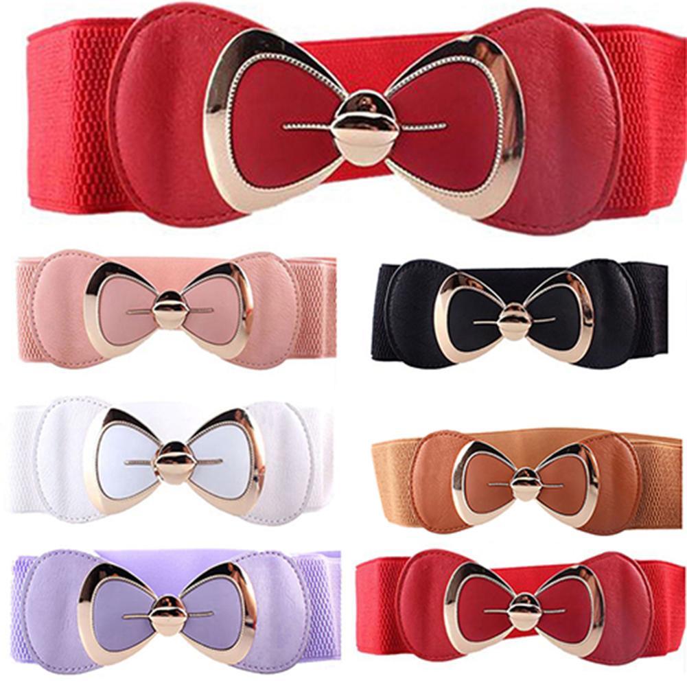Women Bowknot Buckle Metallic Faux Leather Waistband Elastic Croset Waist Belt  Leisure Leather Belt Trouser Accessories