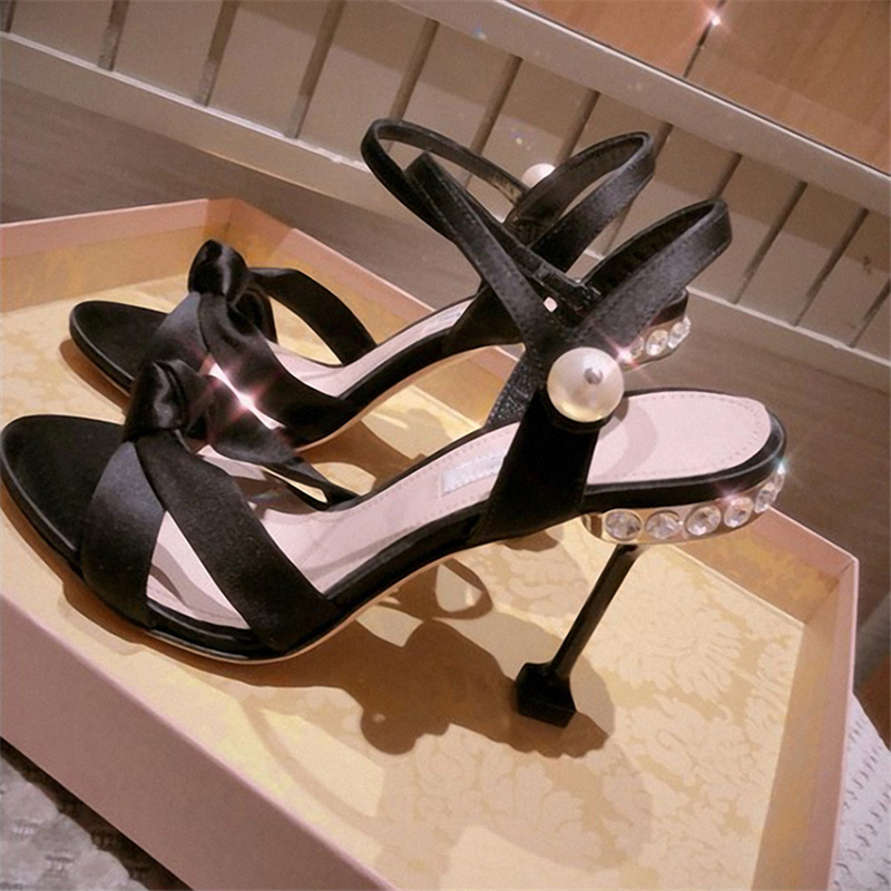 Women Sandals 8cm High Heels Crystal Summer Shoes Black 2019 New Fashion Stiletto Sexy Party Cat Heel Pearl Shoes Bow Tie Pumps - 6