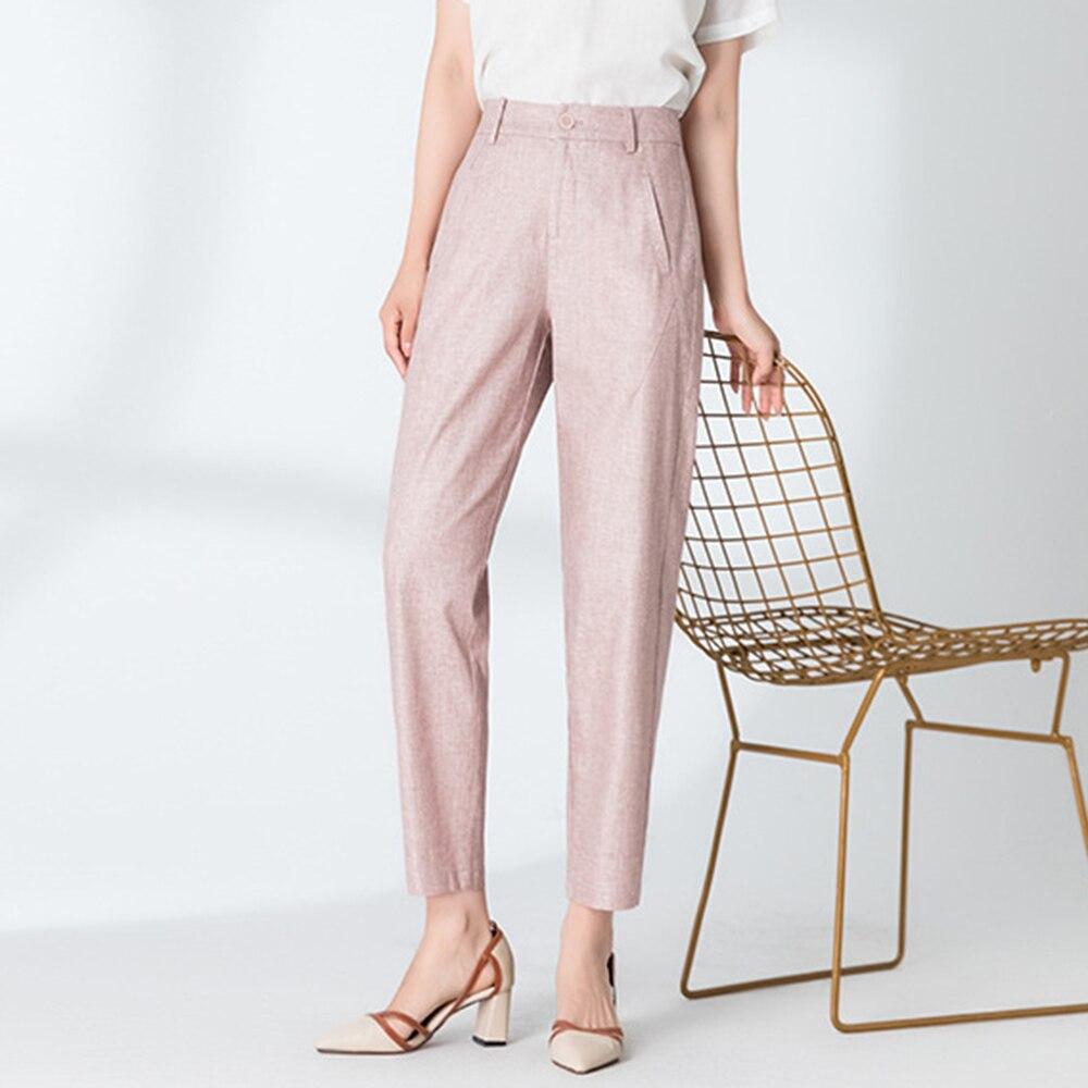 2020 New Women's Linen Harem Pants Female Capri Cropped Pants Plus Size Thin Loose-fit Breathable Casual Summer Trousers Light