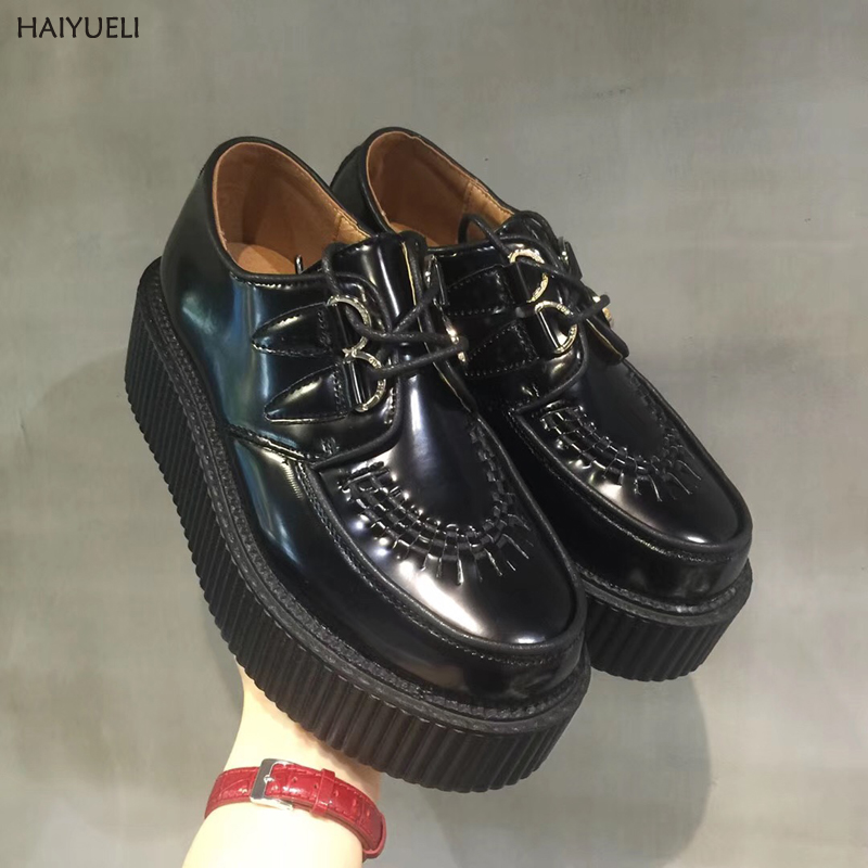 Women Shoes Autumn Harajuku Shoes Casual Creepers Platform Shoes Comfort Shoes For Women Lace Up Platform Flats