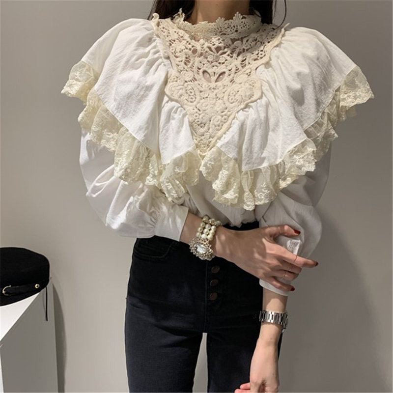 Alien Kitty Chic Korean Patchwork Lace Loose Shirts 2020 Cotton Linen Ruffles Office Lady Casual All-Match Stylish Blouses
