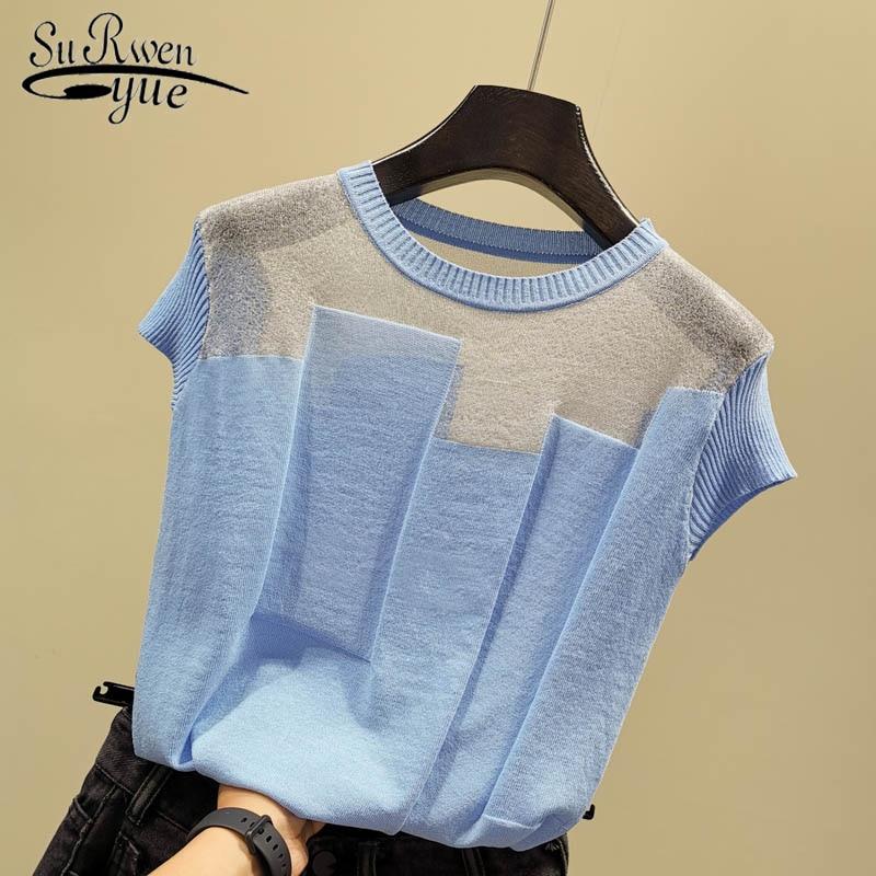 Korean Patchwork Ice Silk Knitted Tops  Women Blusas Mujer De Moda 2020 Summer Short Sleeve Fashion Thin Blouse 8796 50