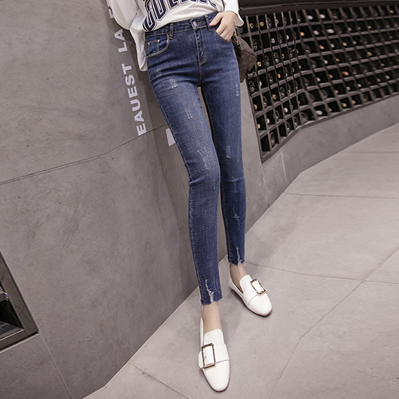 2019 New Style Korean-style Versatile High-waisted Elasticity Slim Fit Slimming Faded Raw-cut Ankle-length Skinny Pencil Jeans W