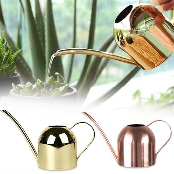 500/1000ML Watering Pot Stainless Steel Long Mouth Green Plant Watering Can Golden Watering Kettle Small Watering Gardening Tool