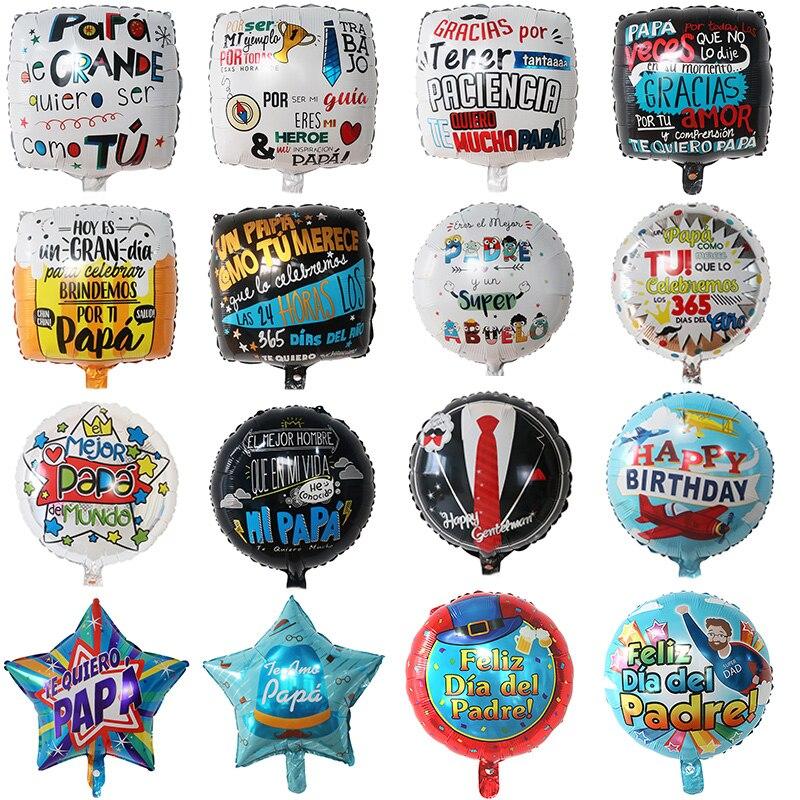 50 шт в наборе, 18 дюймов испанский Счастливый День отца воздушный шар с гелием Feliz Dia супер Papa и I Love Фольга воздушные шары отец вечерние украше...